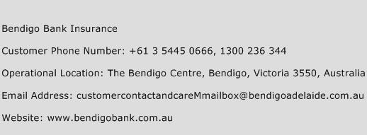 Bendigo Bank Insurance Phone Number Customer Service