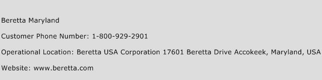 Beretta Maryland Phone Number Customer Service