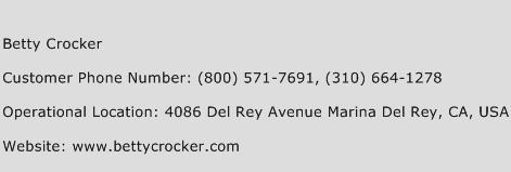 Betty Crocker Phone Number Customer Service
