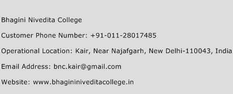 Bhagini Nivedita College Phone Number Customer Service