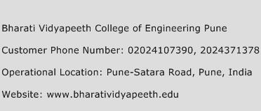Bharati Vidyapeeth College of Engineering Pune Phone Number Customer Service