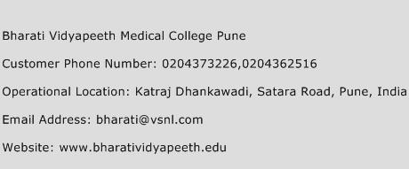 Bharati Vidyapeeth Medical College Pune Phone Number Customer Service