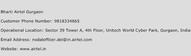 Bharti Airtel Gurgaon Phone Number Customer Service