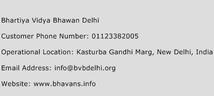 Bhartiya Vidya Bhawan Delhi Phone Number Customer Service