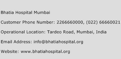 Bhatia Hospital Mumbai Phone Number Customer Service