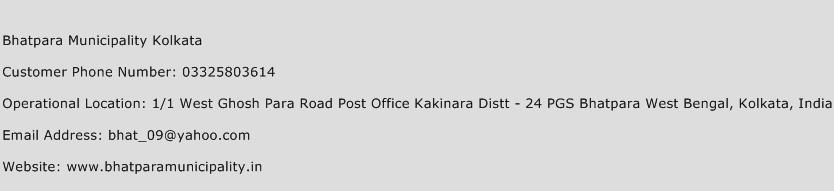 Bhatpara Municipality Kolkata Phone Number Customer Service