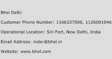 Bhel Delhi Phone Number Customer Service