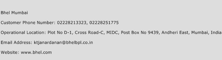 Bhel Mumbai Phone Number Customer Service