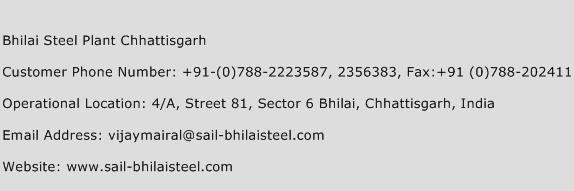 Bhilai Steel Plant Chhattisgarh Phone Number Customer Service