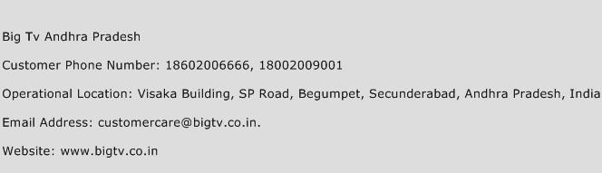 Big Tv Andhra Pradesh Phone Number Customer Service