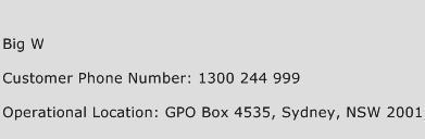 Big W Phone Number Customer Service