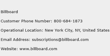 Billboard Phone Number Customer Service