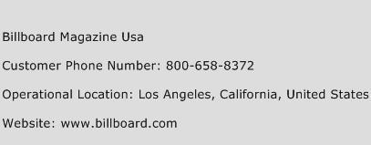 Billboard Magazine USA Phone Number Customer Service