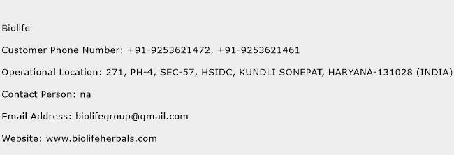 Biolife Phone Number Customer Service