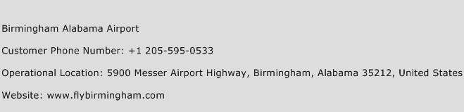 Birmingham Alabama Airport Phone Number Customer Service