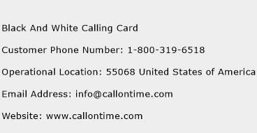 Black And White Calling Card Phone Number Customer Service
