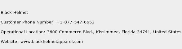 Black Helmet Phone Number Customer Service
