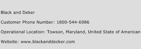 Black and Deker Phone Number Customer Service
