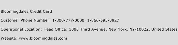 Bloomingdales Credit Card Phone Number Customer Service