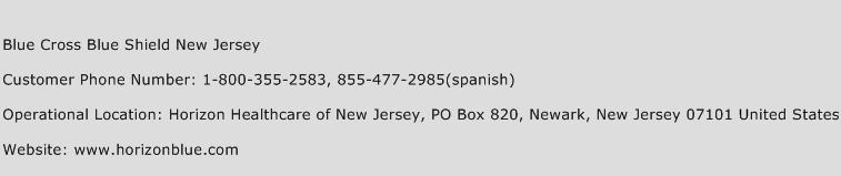 Blue Cross Blue Shield New Jersey Phone Number Customer Service