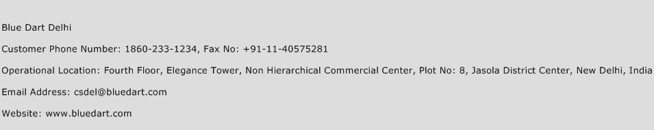 Blue Dart Delhi Phone Number Customer Service