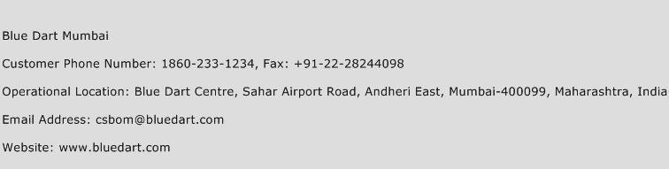 Blue Dart Mumbai Phone Number Customer Service