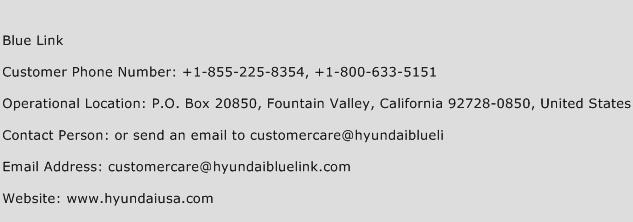 Blue Link Phone Number Customer Service