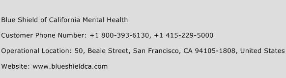 Blue Shield of California Mental Health Phone Number Customer Service