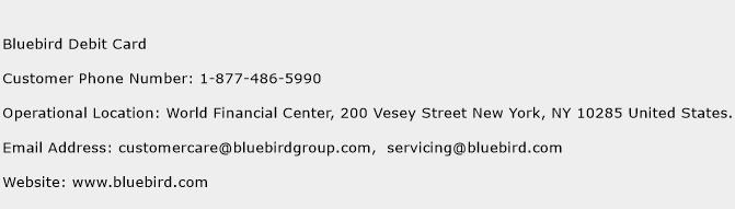 Bluebird Debit Card Phone Number Customer Service