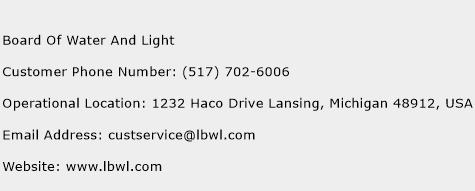 Board Of Water And Light Phone Number Customer Service