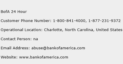 BofA 24 Hour Phone Number Customer Service