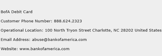 BofA Debit Card Phone Number Customer Service
