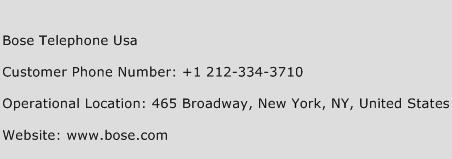 Bose Telephone Usa Phone Number Customer Service