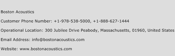 Boston Acoustics Phone Number Customer Service