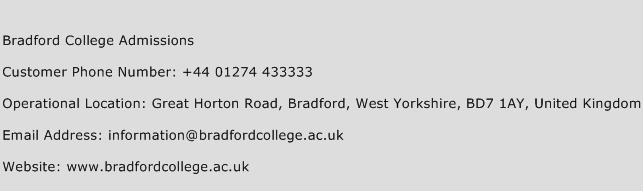 Bradford College Admissions Phone Number Customer Service