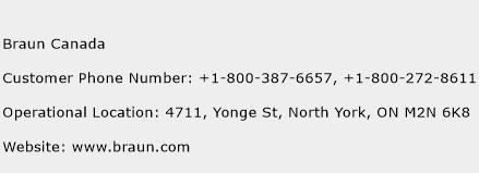 Braun Canada Phone Number Customer Service