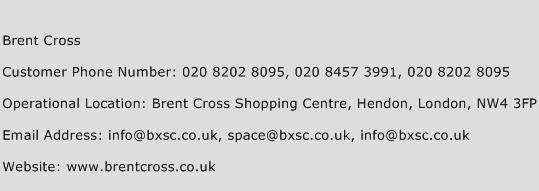 Brent Cross Phone Number Customer Service