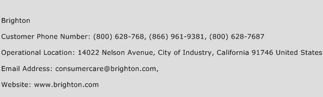 Brighton Phone Number Customer Service