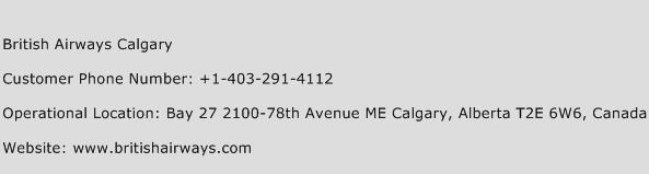 British Airways Calgary Phone Number Customer Service