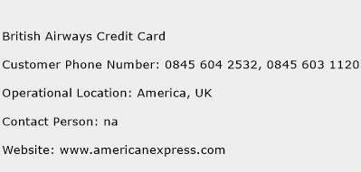 British Airways Credit Card Phone Number Customer Service