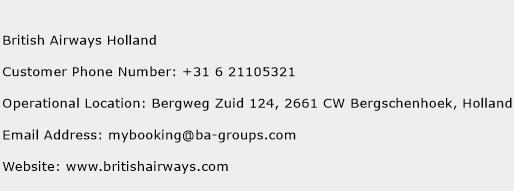 British Airways Holland Phone Number Customer Service