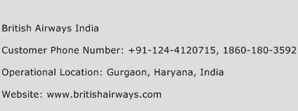 British Airways India Phone Number Customer Service