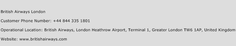 British Airways London Phone Number Customer Service