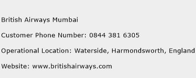 British Airways Mumbai Phone Number Customer Service
