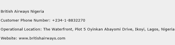 British Airways Nigeria Phone Number Customer Service