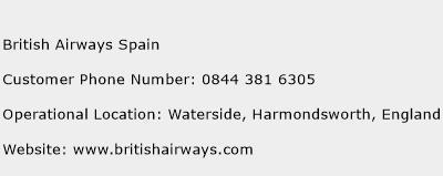 British Airways Spain Phone Number Customer Service