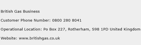 British Gas Business Phone Number Customer Service