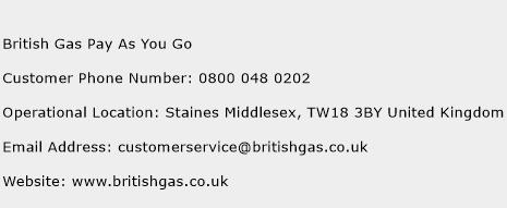 British Gas Pay As You Go Phone Number Customer Service