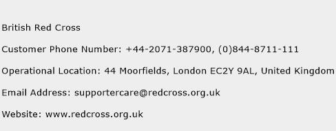 British Red Cross Phone Number Customer Service