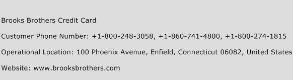 Brooks Brothers Credit Card Phone Number Customer Service